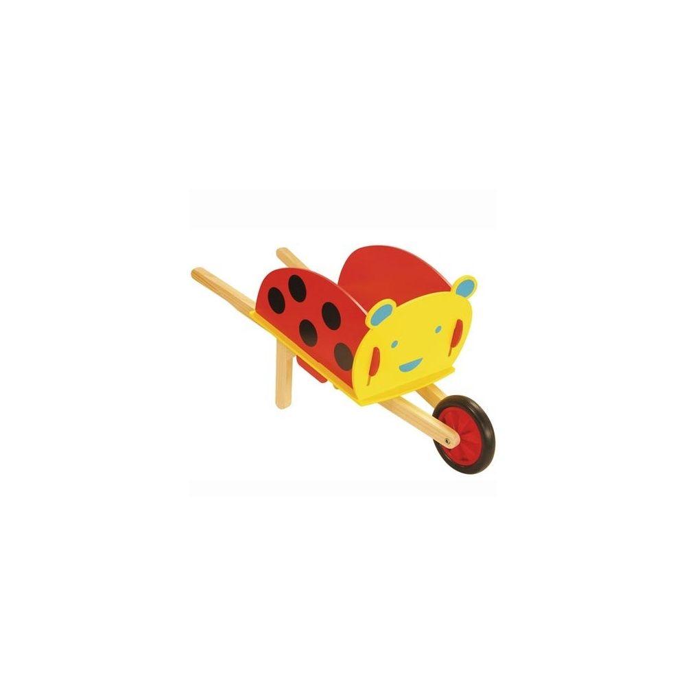 Brouette coccinelle de jardinage en bois pour enfants house of toys 1 carton x 29 x 41 - Brouette en bois de jardin ...