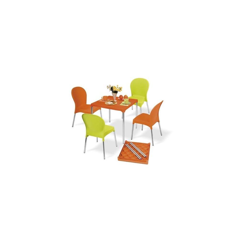salon de jardin 4 places warhol table en aluminium et pvc 4 chaises orange et vert anis. Black Bedroom Furniture Sets. Home Design Ideas