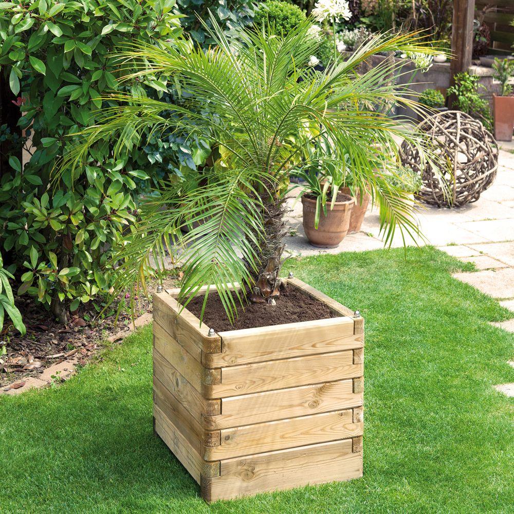 Bac A Plantes Aromatiques en ce qui concerne bac � fleurs bois trait� l50 h50 cm ol�a carton - gamm vert