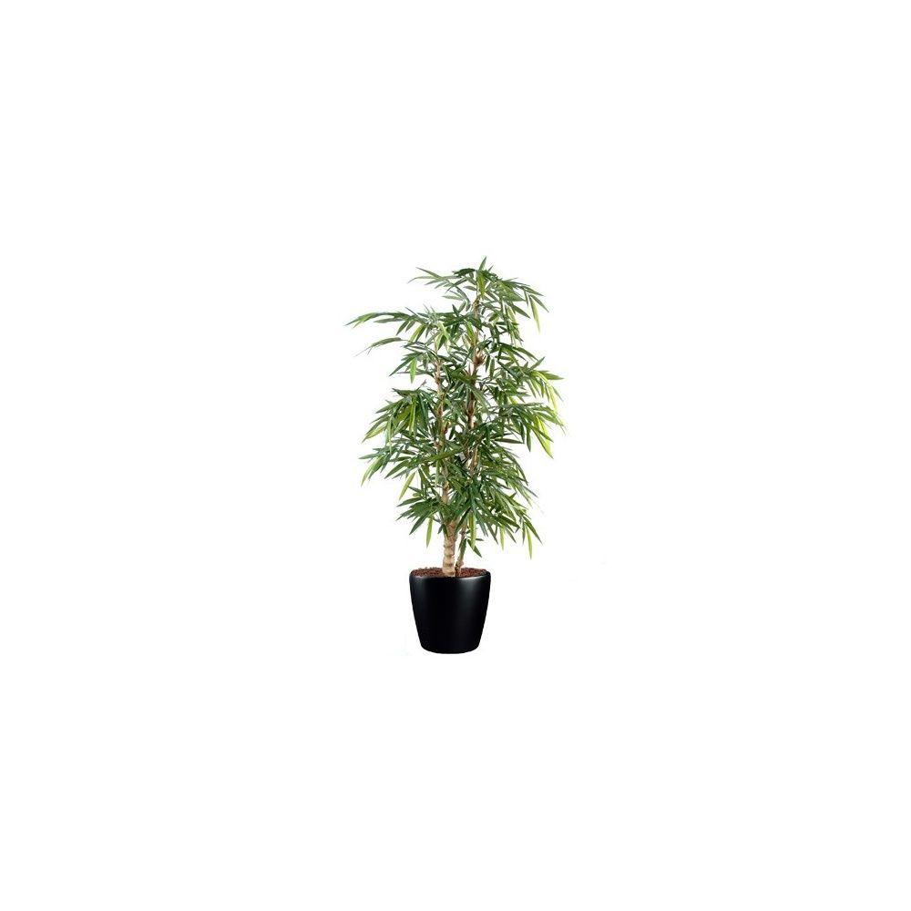 Bambou Bouddha Tree H180 cm (cannes naturelles, feuillage artificiel) pot Lechuza Noir