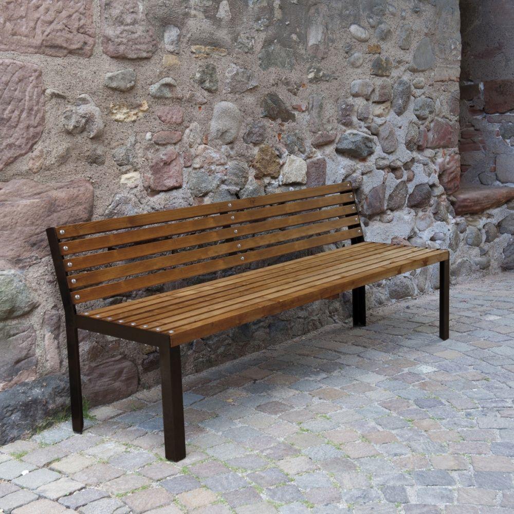 banc selekt bois trait acier l190 cm marron 1 colis 190 x 60 x 80 cm gamm vert. Black Bedroom Furniture Sets. Home Design Ideas