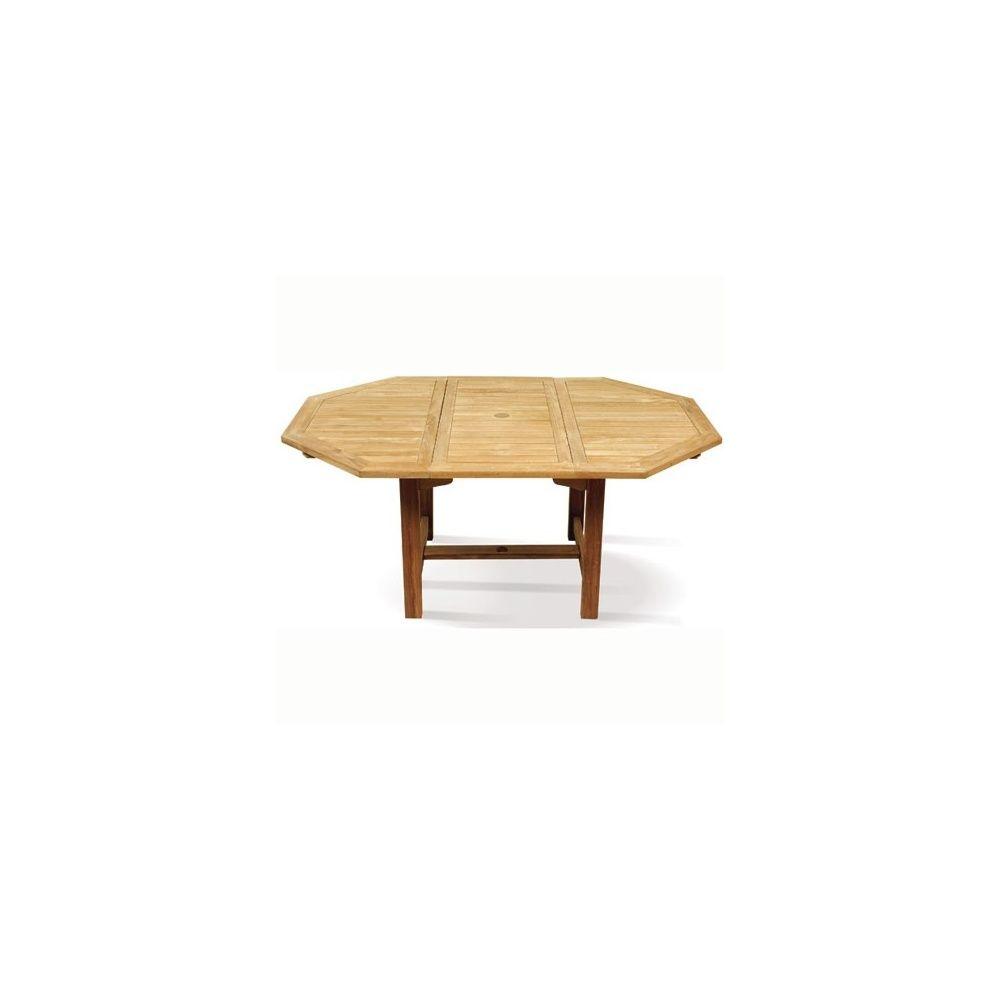 Table teck 6 places octogonale à rallonges 120/170 carton 124 x 124 ...