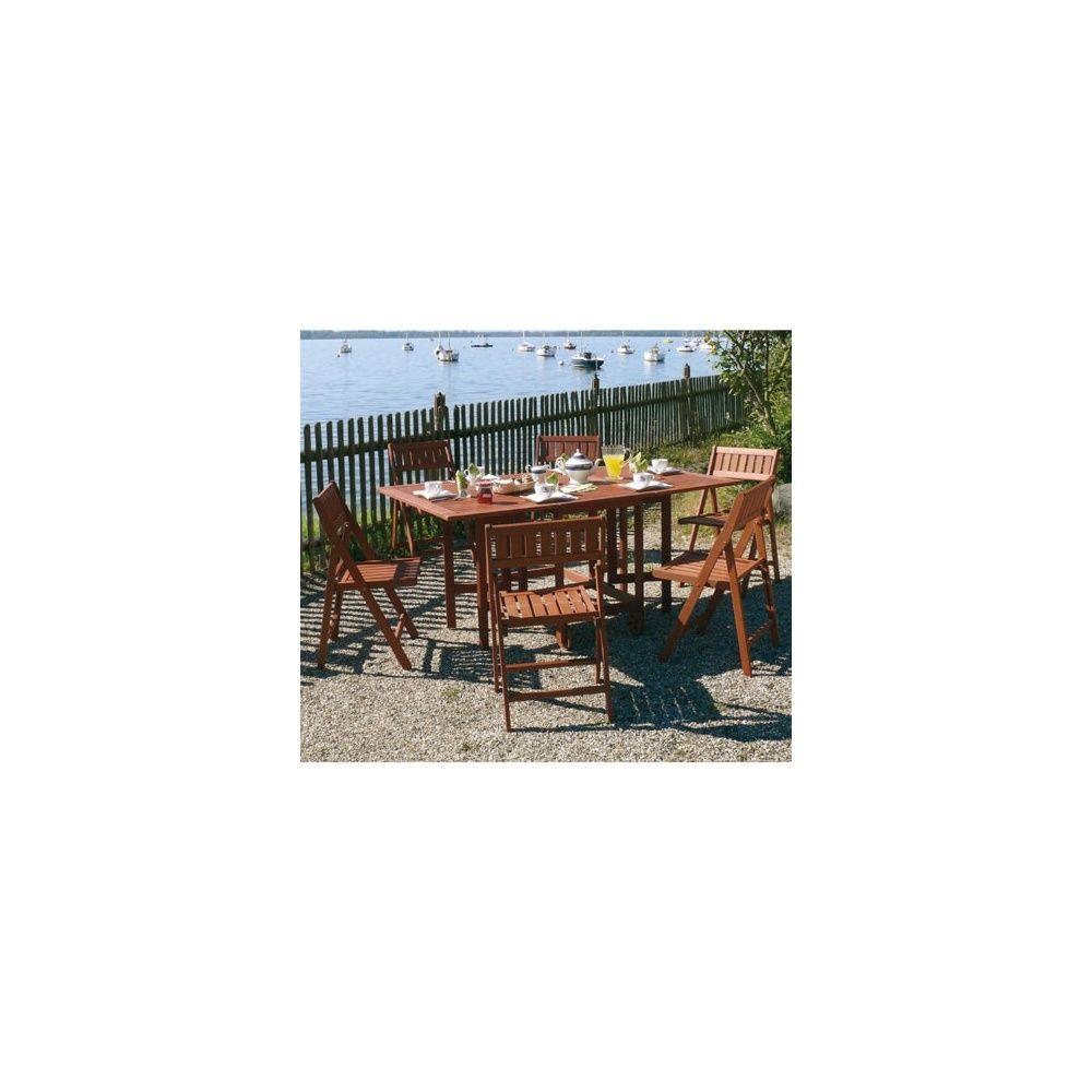 Salon de jardin en bois Keruing: table pliante + 6 chaises pliantes ...