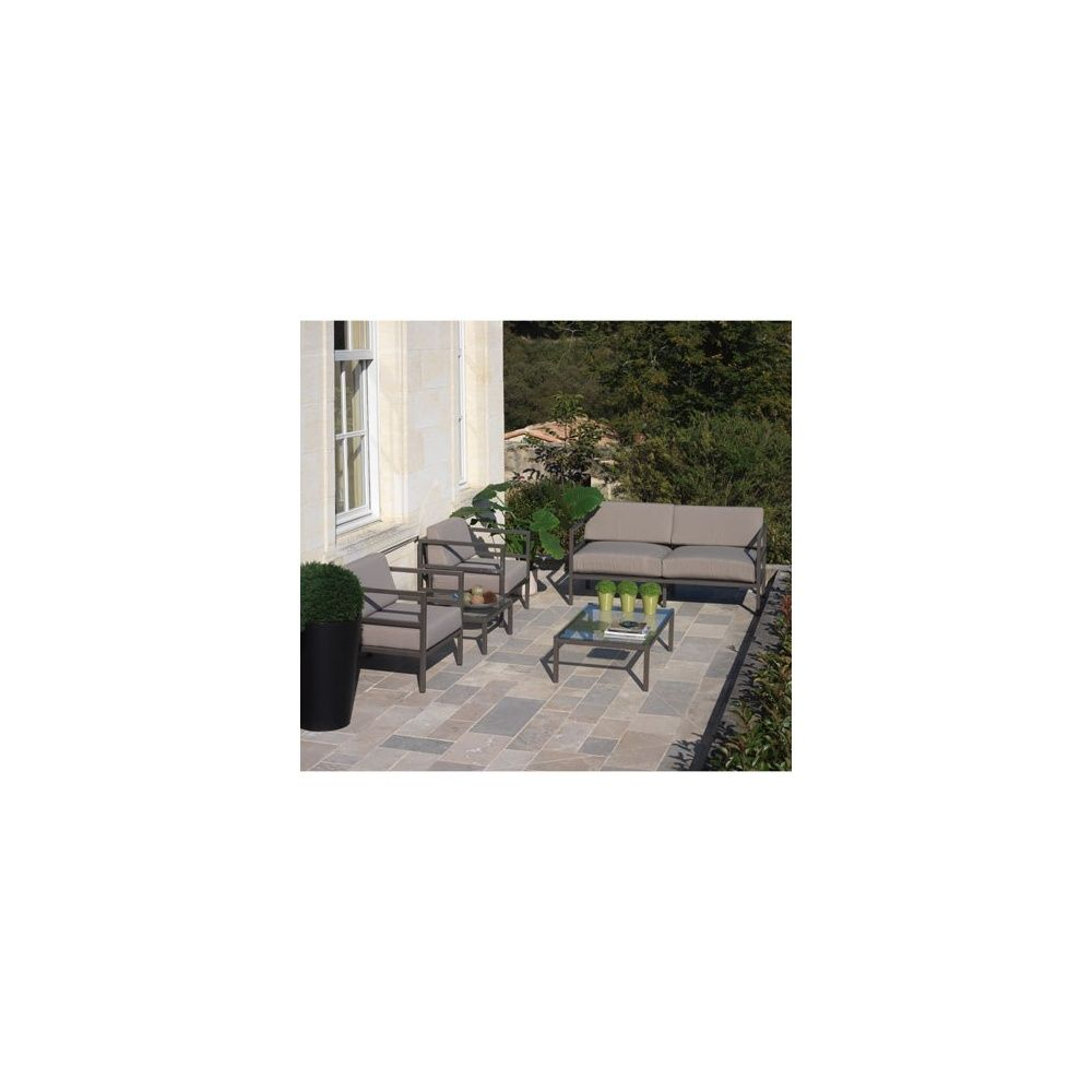 Salon de jardin en aluminium manhattan avec coussins - Salon de jardin aluminium magasin vert ...