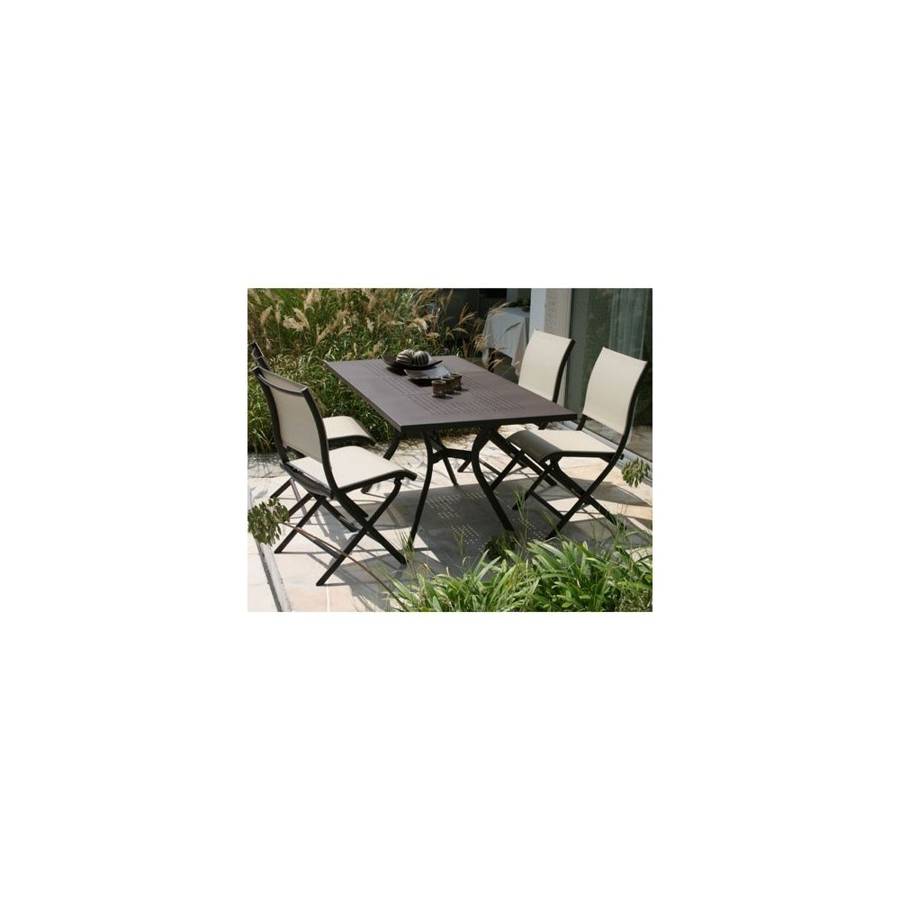 Salon de jardin Madrino en aluminium et textilène: table de jardin+ ...
