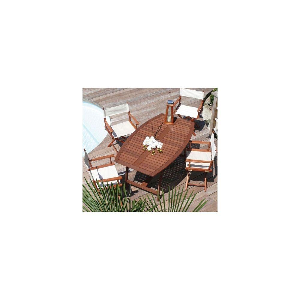 Salon de jardin en bois exotique: table ovale + 6 chaises- Dream ...