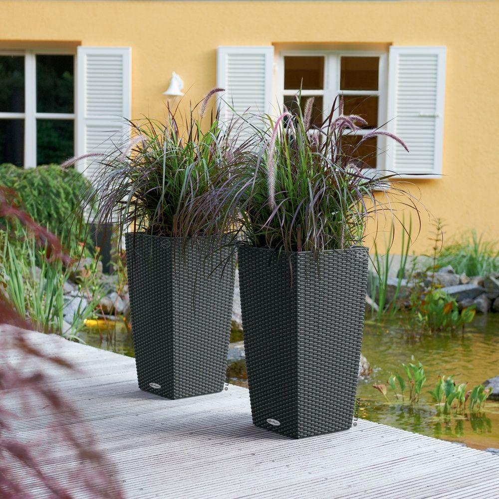 Pot Lechuza Cubico Cottage L30 H56 cm granit Cartons - Gamm Vert