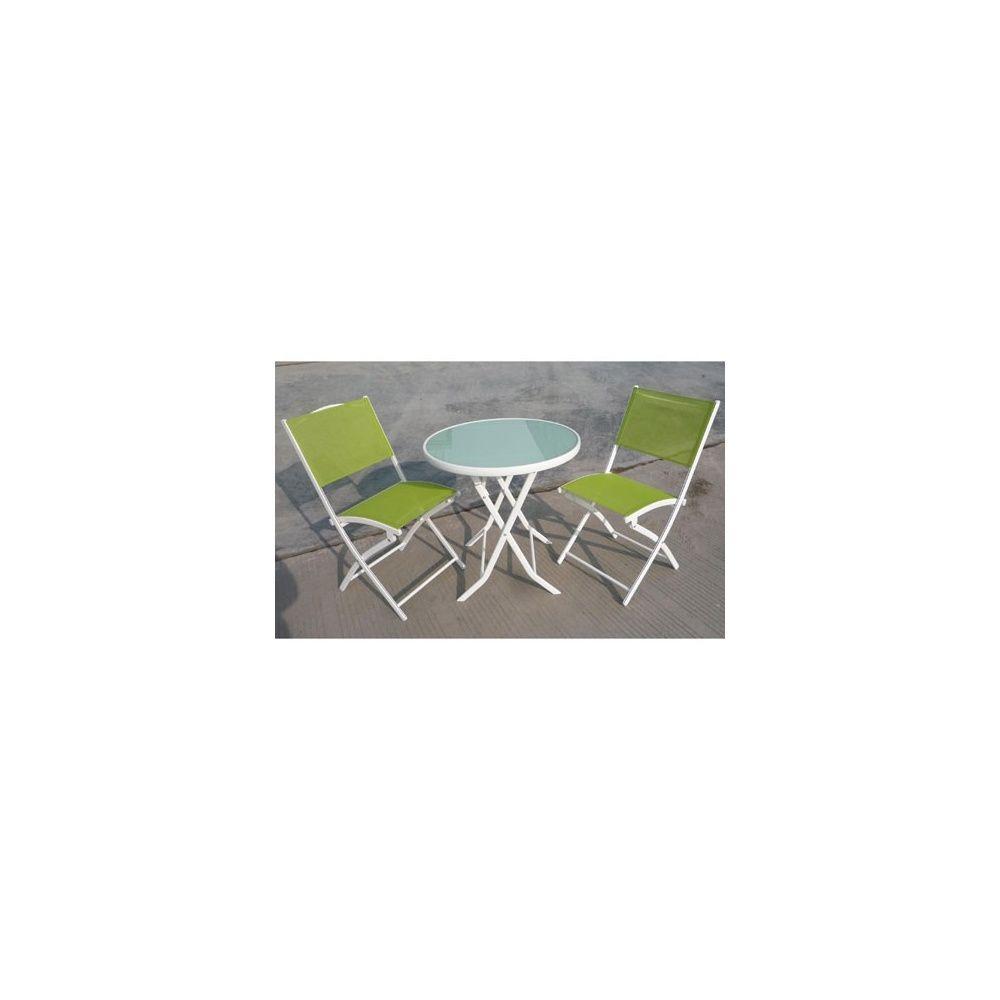 Salon de jardin bistro: table pliante + 2chaises pliantes 1 carton ...