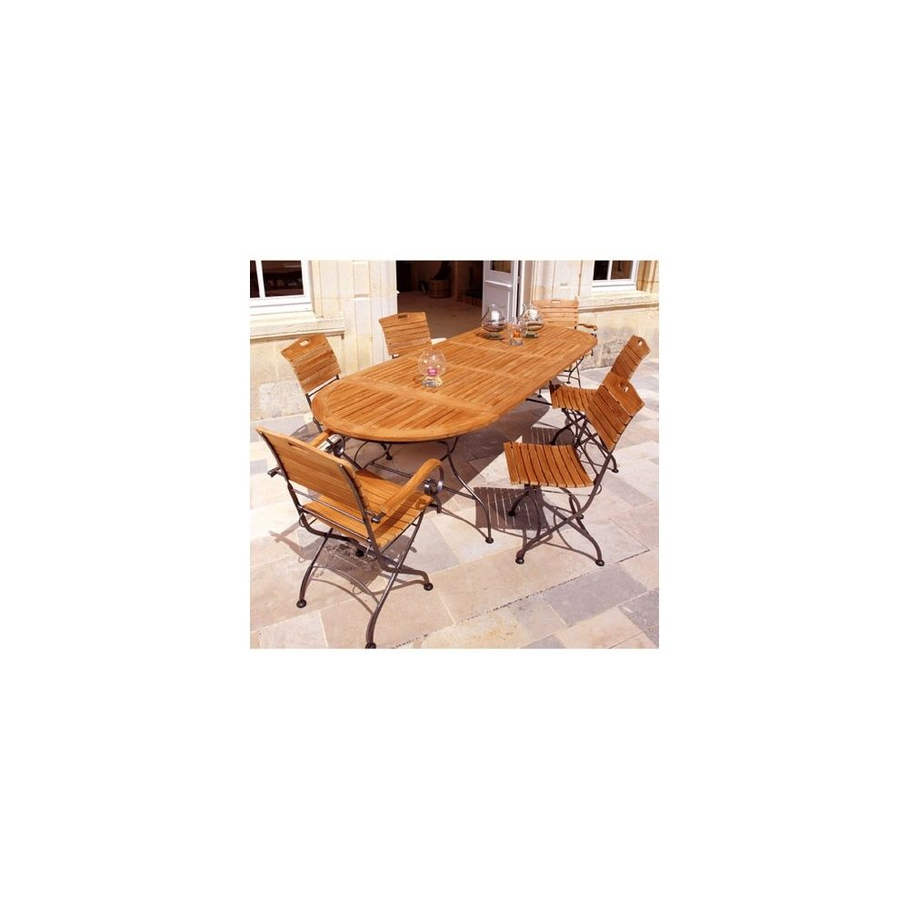 Salon de jardin 6 pers bois teck FSC acier table 160/210/260x100 ...