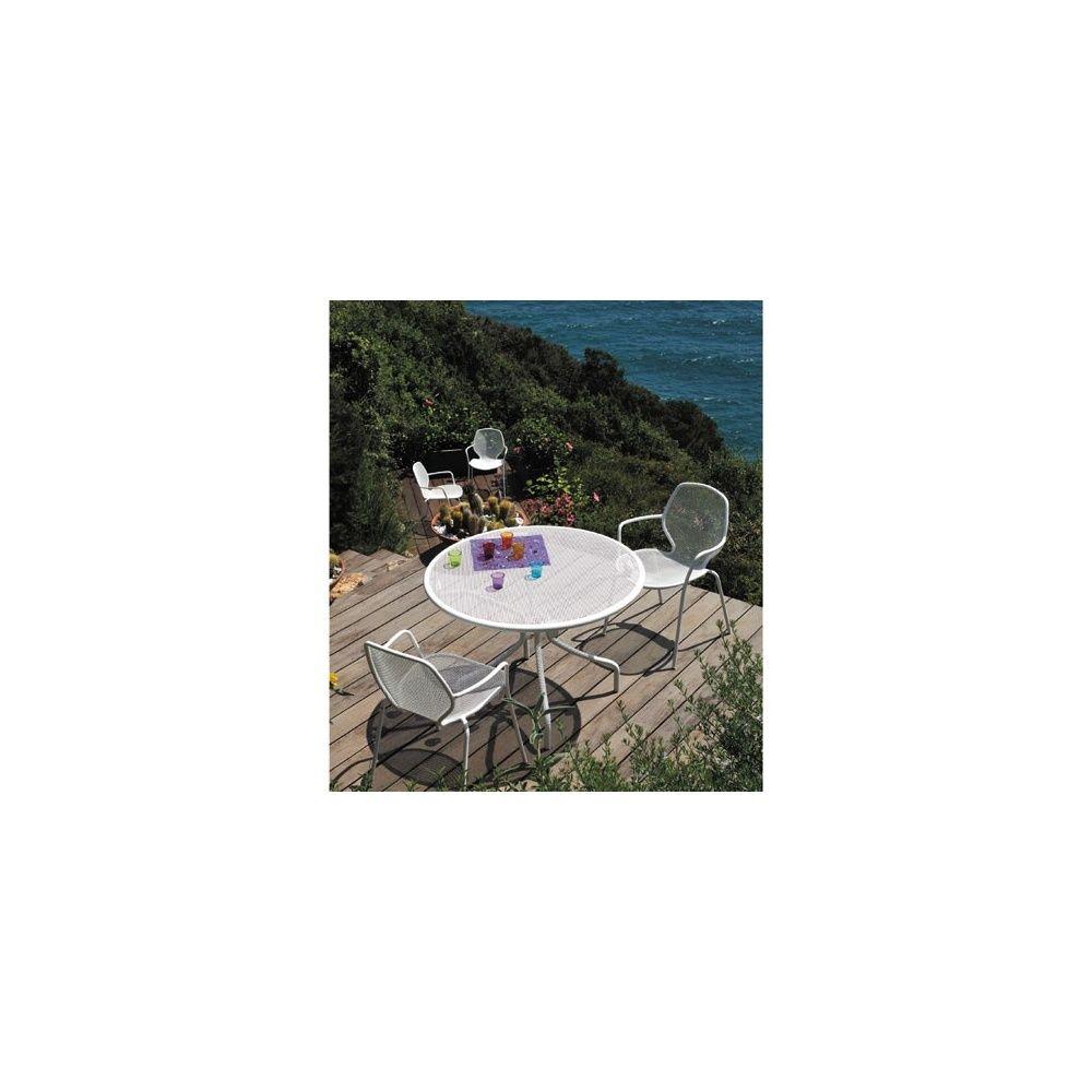 Salon de jardin en acier : table Cambi + 4 fauteuils empilables Onda ...