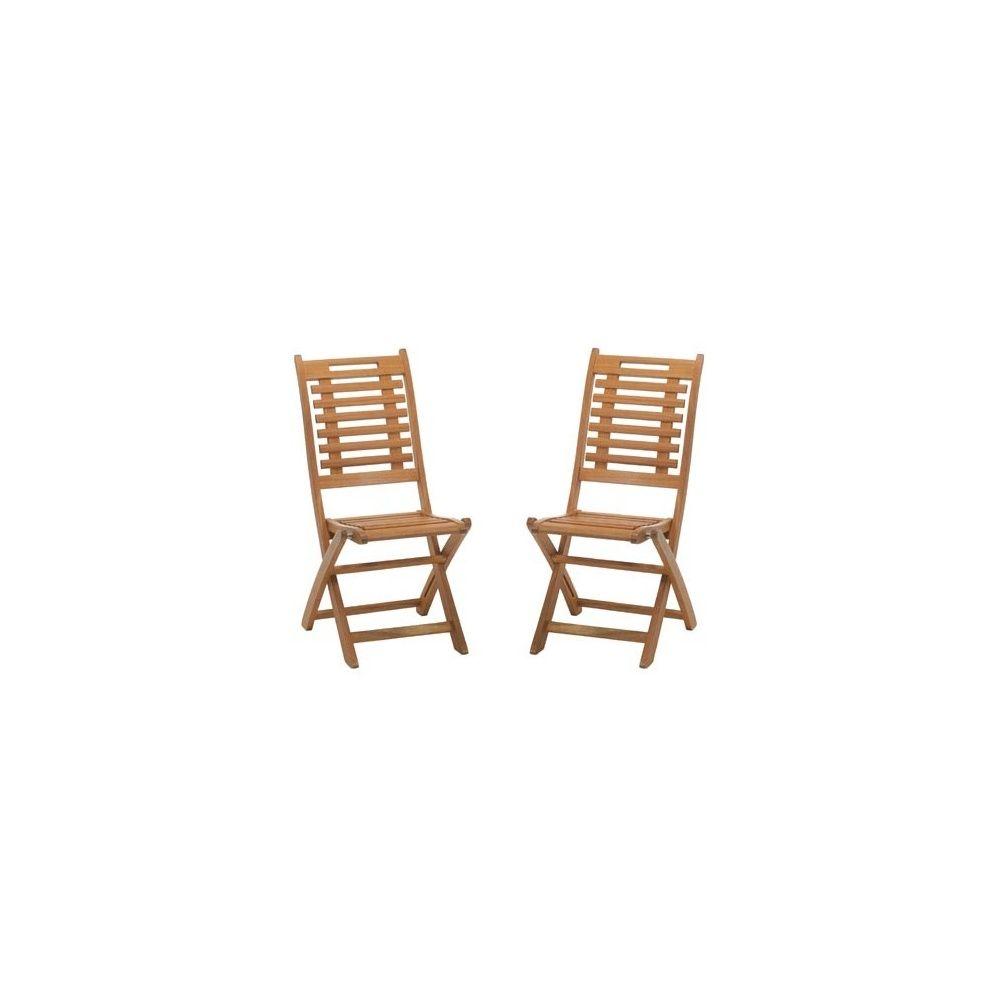 lot de 2 chaises pliables en bois exotique lake sylva - Chaises Pliables
