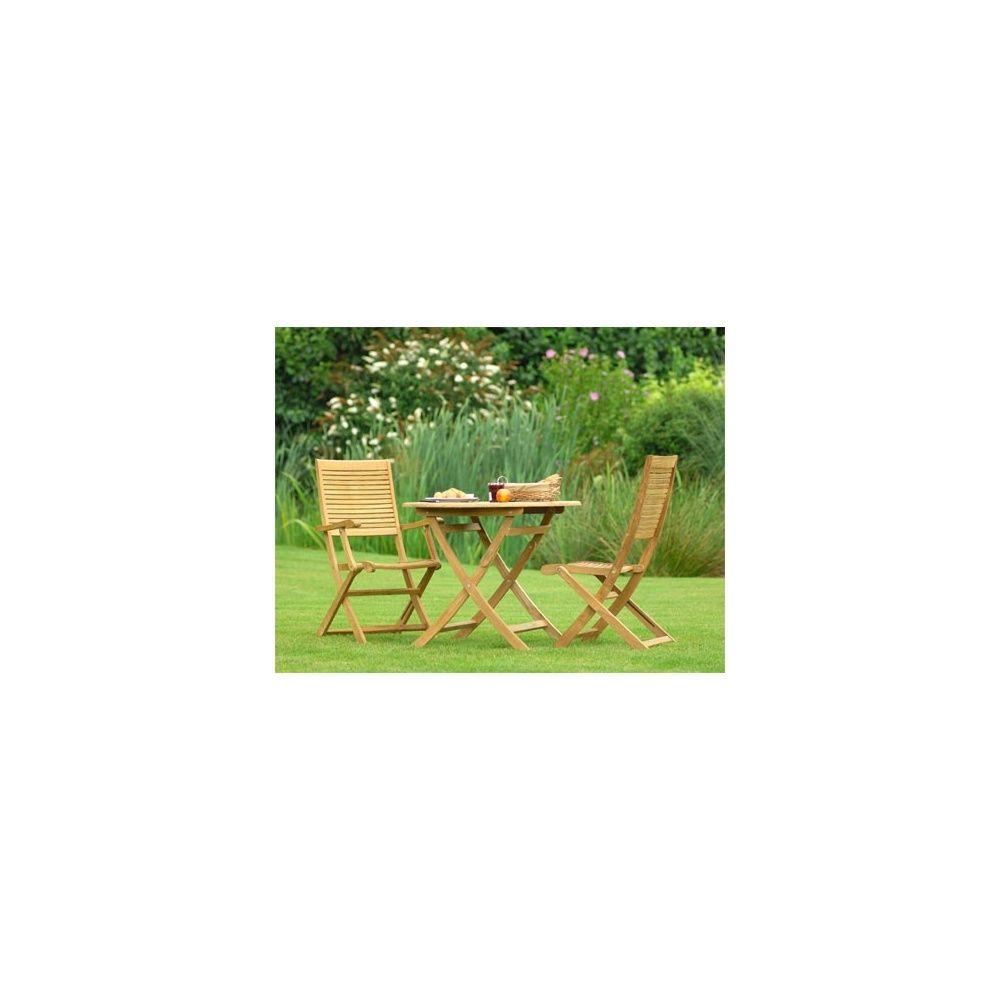 Salon de jardin en teck FSC 2 places table diamètre 90 cm et ...