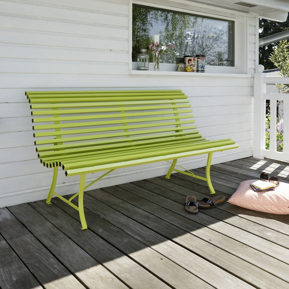 banc fermob louisiane acier l150 cm verveine 51 5 x 23 x 156 cm gamm vert. Black Bedroom Furniture Sets. Home Design Ideas