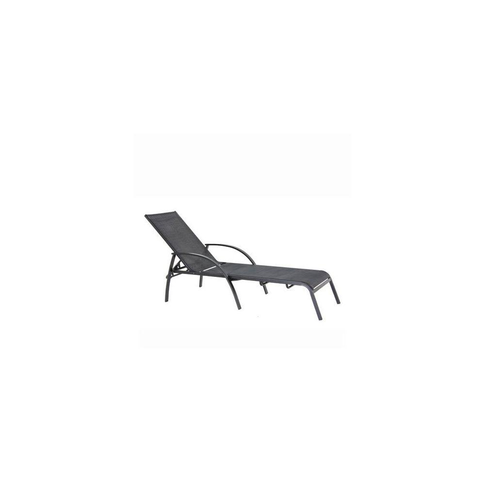 bain de soleil en textilène noir - gris anthracite carton 174 x 74 x
