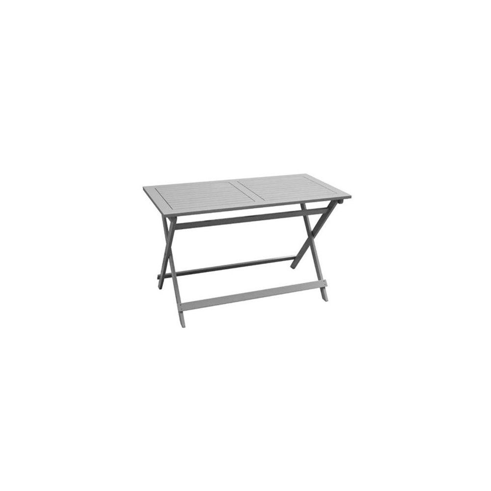 Table de jardin bois Balcon blanc cassé 120 x 60 cm 1 colis 126 x 62 ...