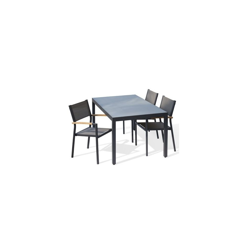 table de jardin aluminium 220 cm anthracite plateau verre mat 1 colis 222x92x18 gamm vert. Black Bedroom Furniture Sets. Home Design Ideas