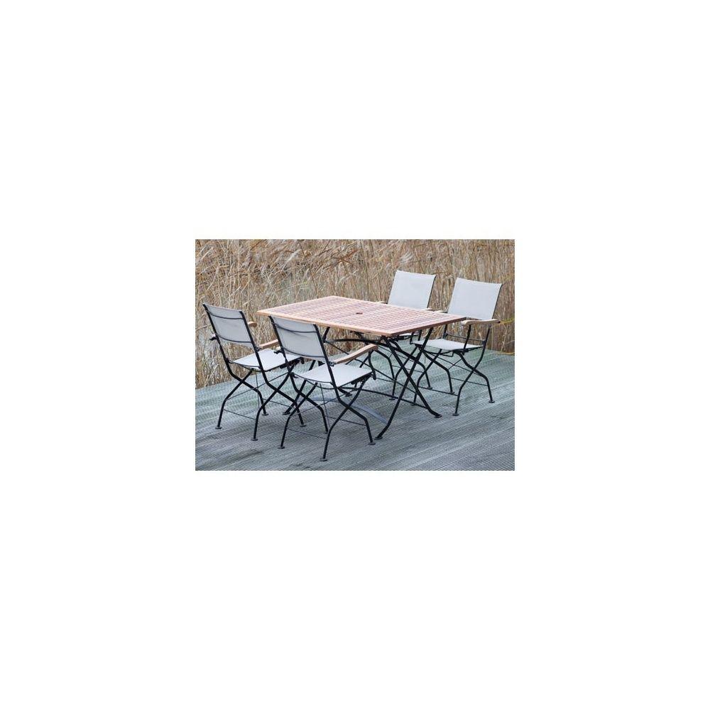 Salon de jardin Costa bi-matière : 4 fauteuils pliants + 1 table ...