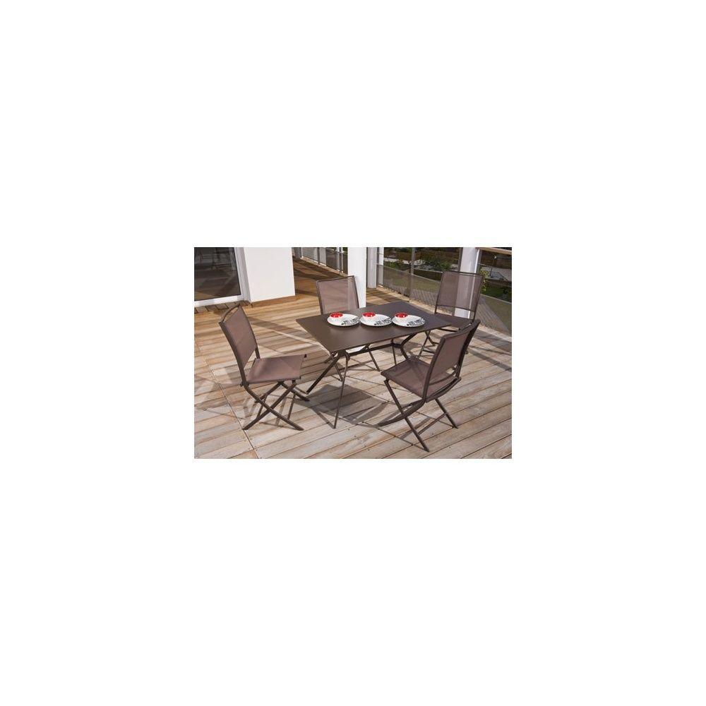 Salon de jardin 4 personnes rouille en acier et textilène table 110 ...