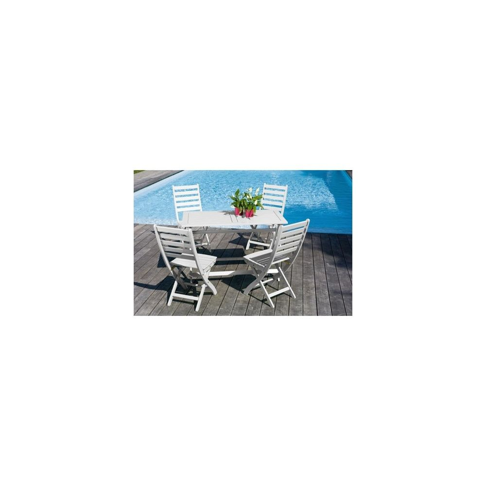 Salon de jardin 4 personnes bois blanc table balcon 120 x 60 cm 1 ...