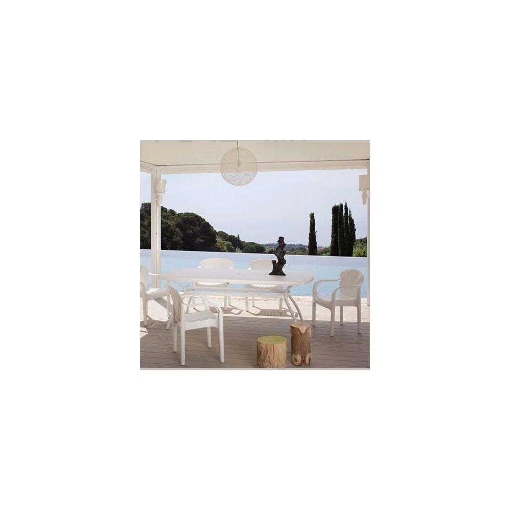 Salon De Jardin Pour 6 Personnes En Ru00e9sine Blanche Polypropylu00e8ne 1 Table U00e0 Rallonge + 6 ...