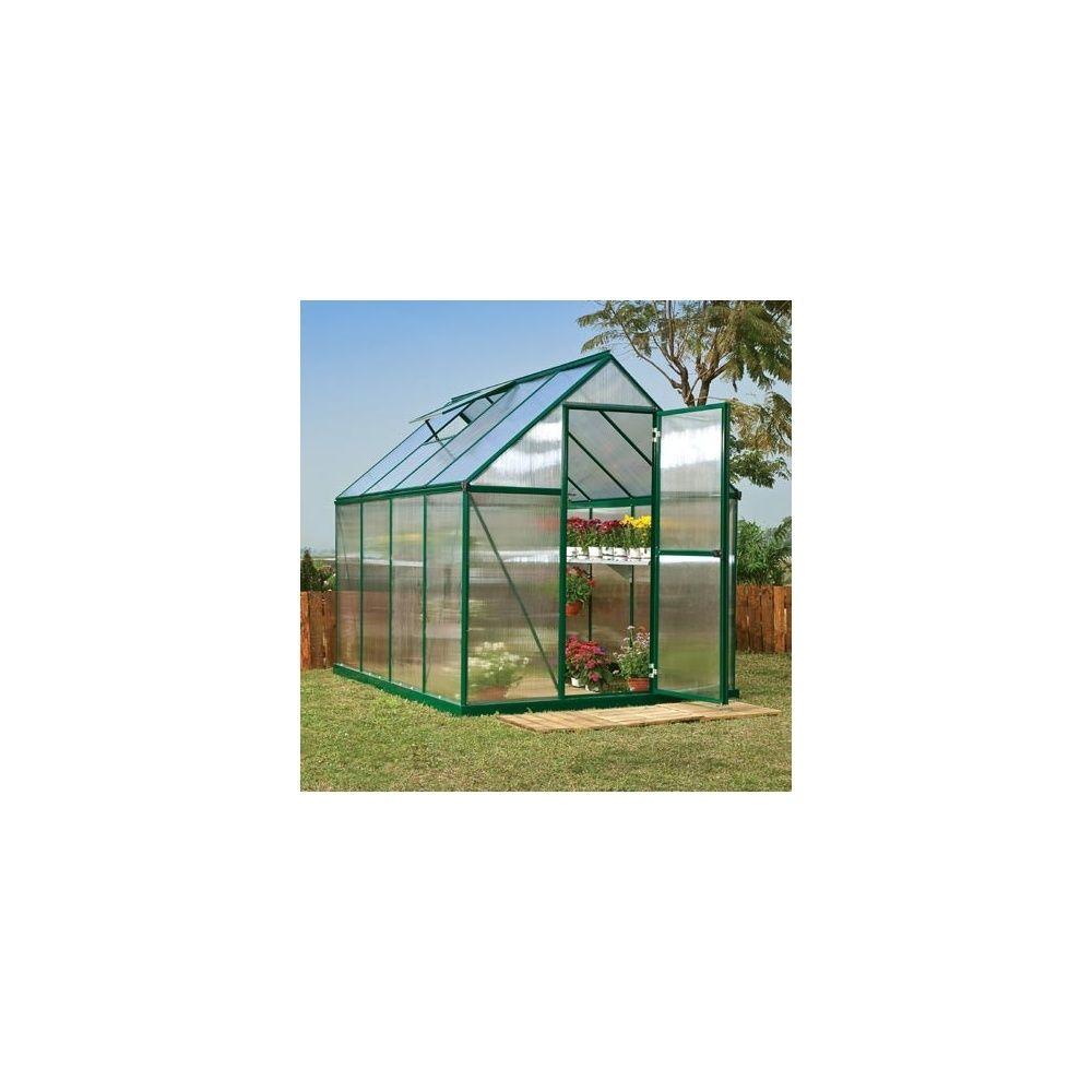 Serre de jardin mythos 4 6 m2 laqu e verte polycarbonate double paroi embase 2 cartons - Chassis de jardin en polycarbonate ...