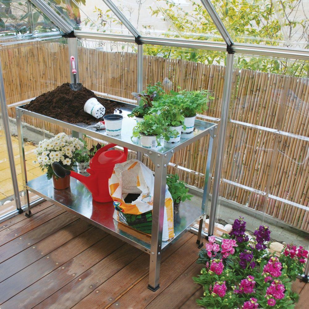 table de culture pour serres en acier galvanis carton 116 x 51 x 7 cm gamm vert. Black Bedroom Furniture Sets. Home Design Ideas