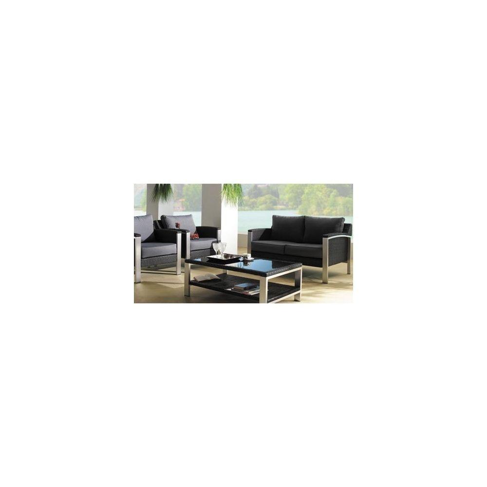 Salon de jardin bas Cannes : 1 canapé 2 places + 2 fauteuils + 1 ...