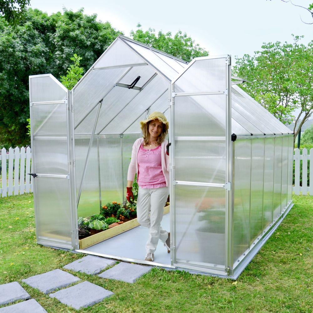 serre de jardin essence polycarbonate 8 80m2 embase palram 2 colis l198 x p45 x h12 5 cm. Black Bedroom Furniture Sets. Home Design Ideas