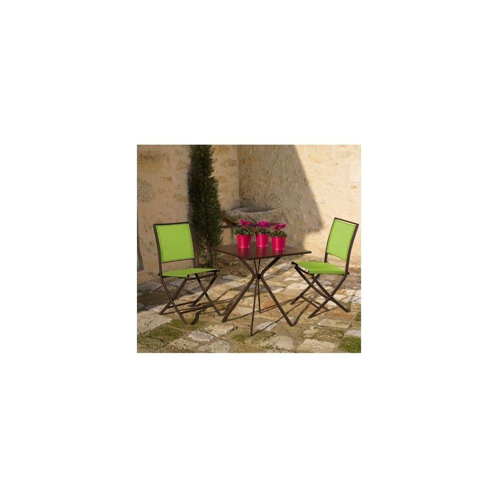 Salon de jardin Carbet - table guéridon acier + 2 chaises Ajoupa rouille  lime