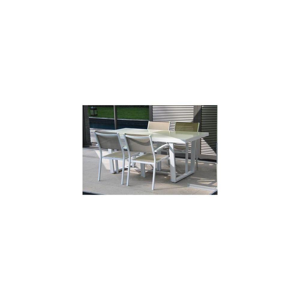 Salon de jardin loft table 180x90 aluminium blanc 4 - Salon de jardin aluminium magasin vert ...