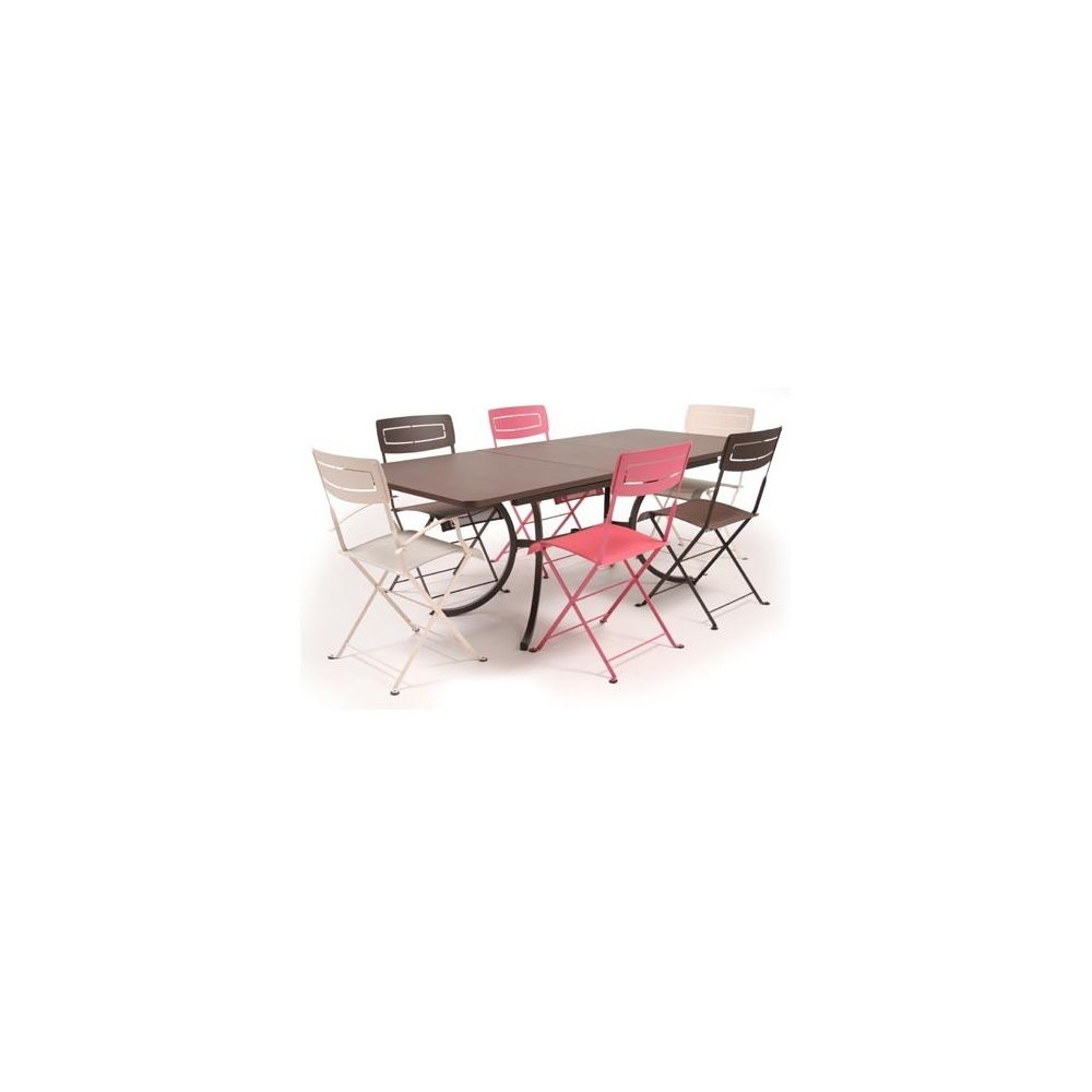 Salon 6 Places Rouille Lin Fuchsia Table Deauville 160 210 X 90