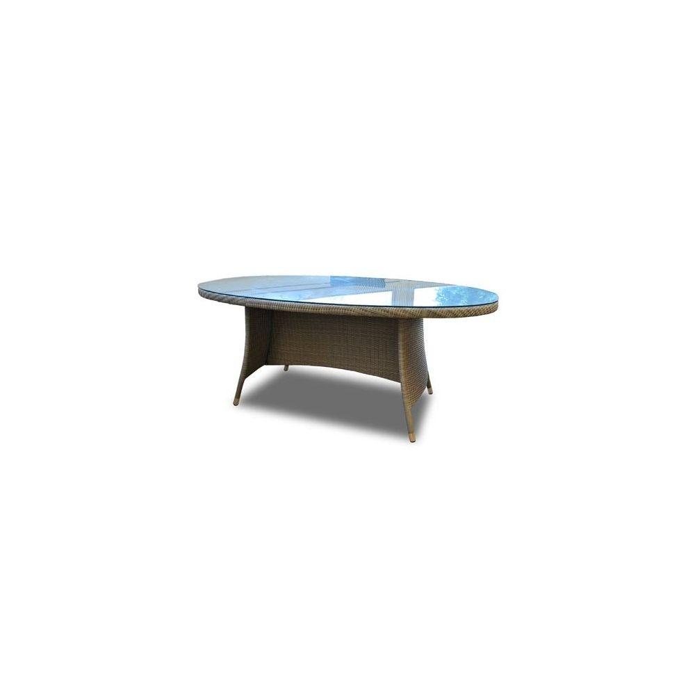 Table ovale belfort en r sine tress e plateau en verre - Plateau verre trempe ...