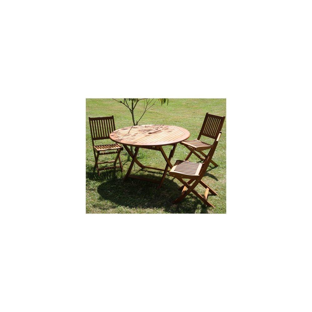 Table de jardin pliante ronde D120 cm en eucaplyptus FSC Sophie 1 ...