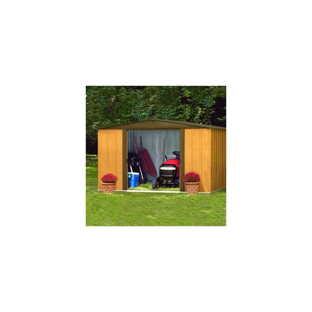 abri de jardin en acier galvanis imitation bois 4 58 m. Black Bedroom Furniture Sets. Home Design Ideas