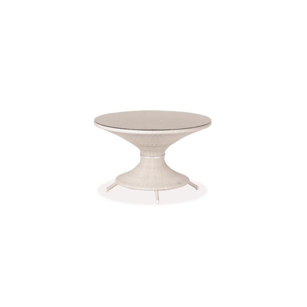 Table de jardin ronde Nilo D 120 cm en aluminium et wicker + plateau en  verre - coloris beige - EMU
