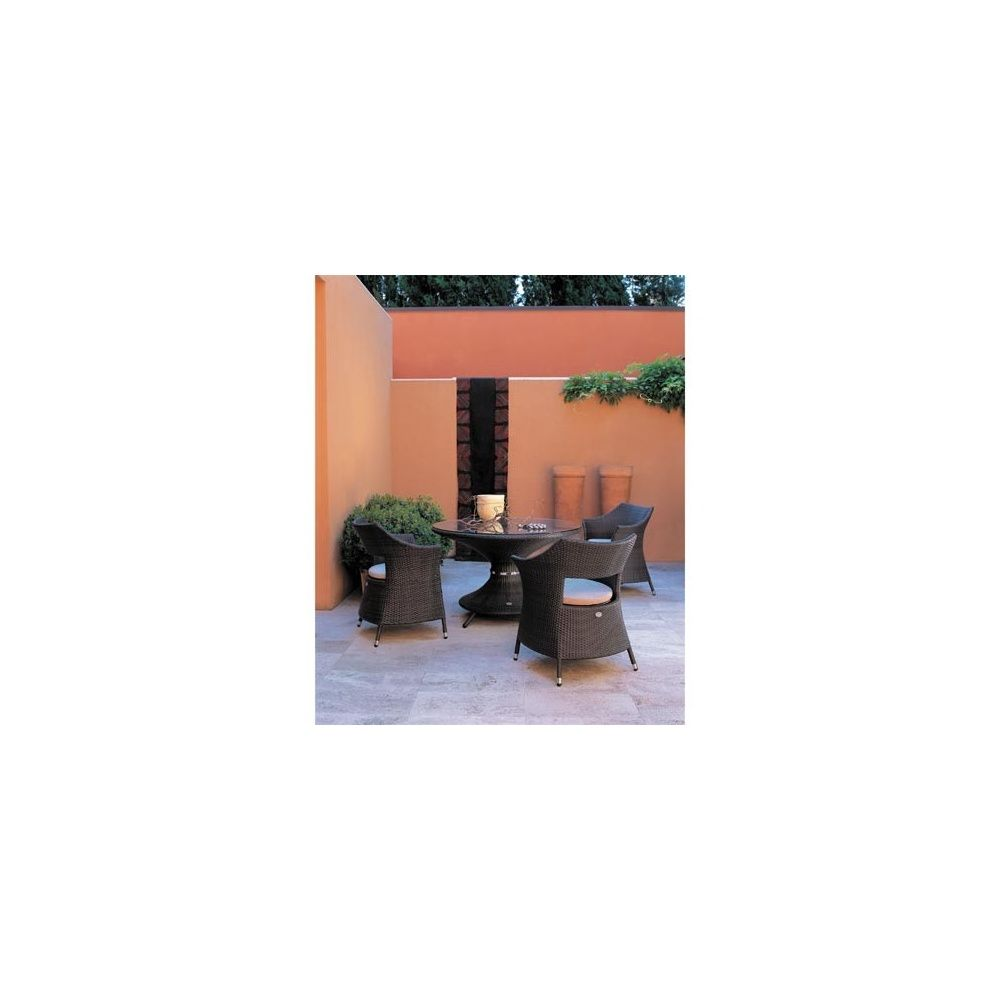 Salon de jardin 4 places en acier, alu et wicker: 1 table D 120 cm + ...