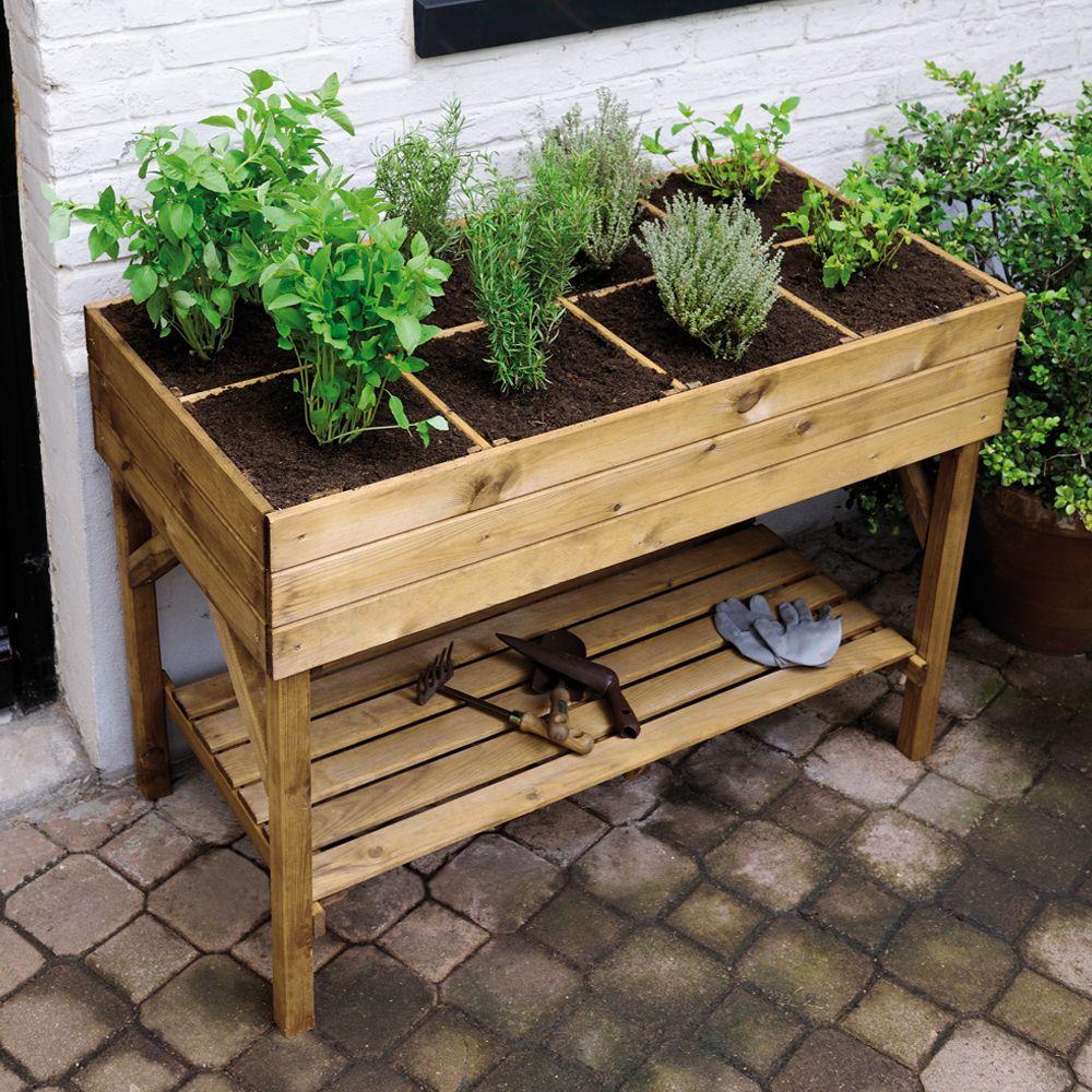 Carr potager sur pieds l120 h86 5 cm bois trait gariguette 125 x 60 x 14 cm 34 kg gamm vert - Plan jardin potager sureleve ...