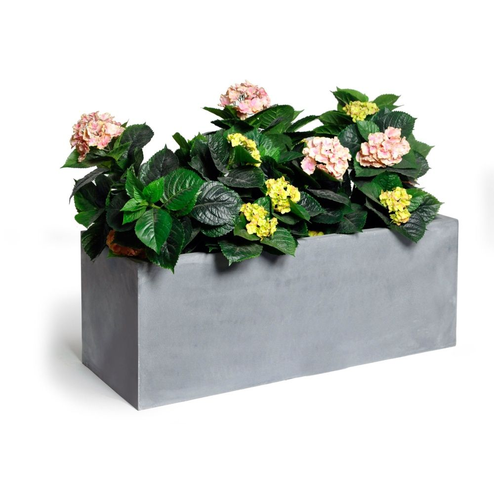 Bac à fleurs polystone L80 H41 cm ciment foncé