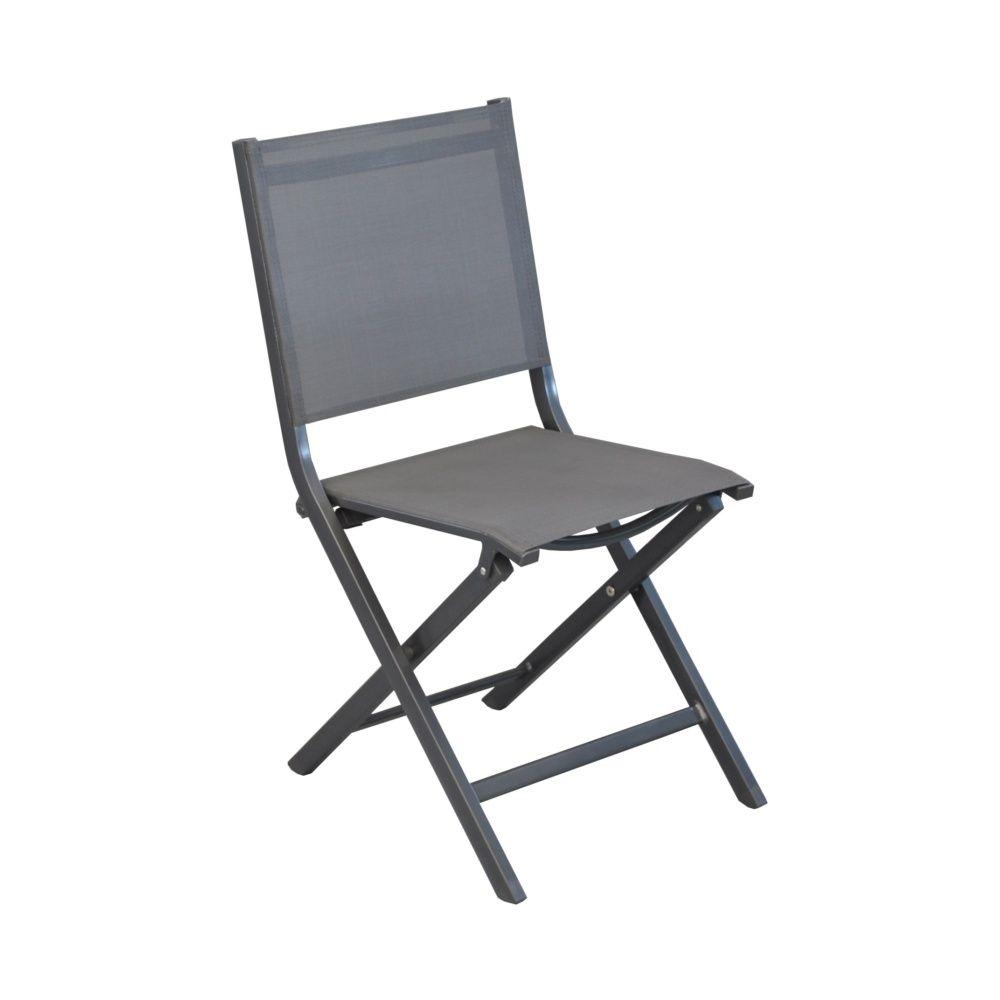 lot de 6 chaises pliantes thema aluminiumtextilne gris - Chaises Pliables