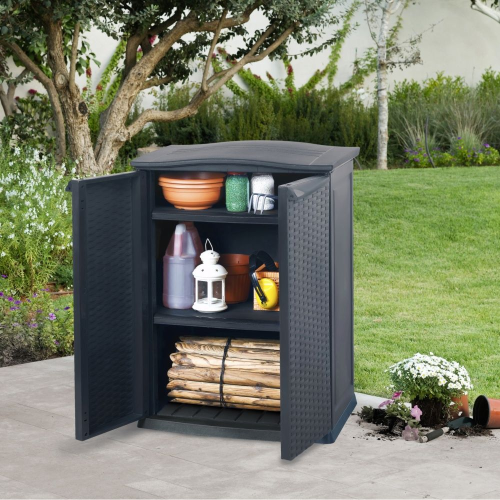 armoire de jardin r sine keter rattan l70 h92 cm. Black Bedroom Furniture Sets. Home Design Ideas