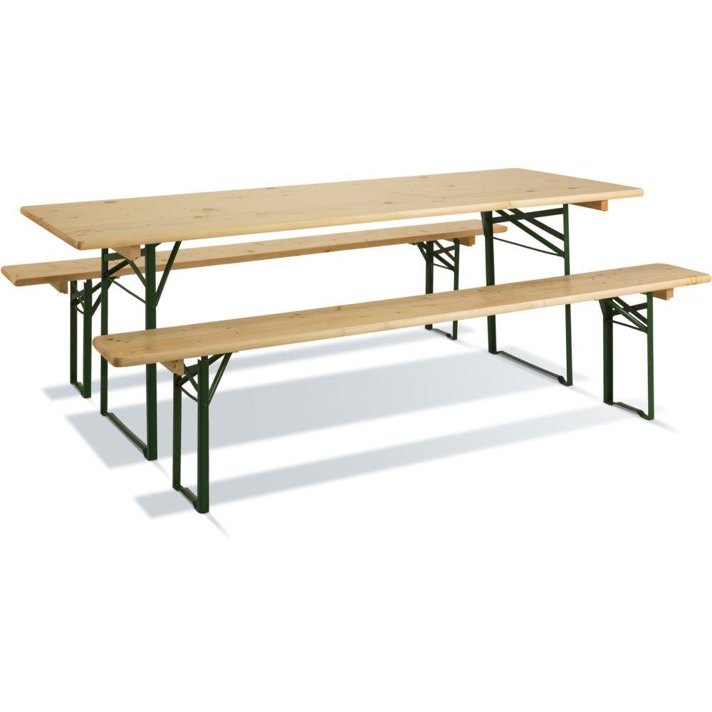 table de pique nique pliante brasseurs bois vernis l220 l80 cm carton pr mont gamm vert. Black Bedroom Furniture Sets. Home Design Ideas