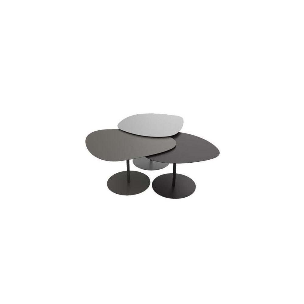 Table Basse Gigogne 3 Galets Gris Taupe Noir Carton Gamm Vert