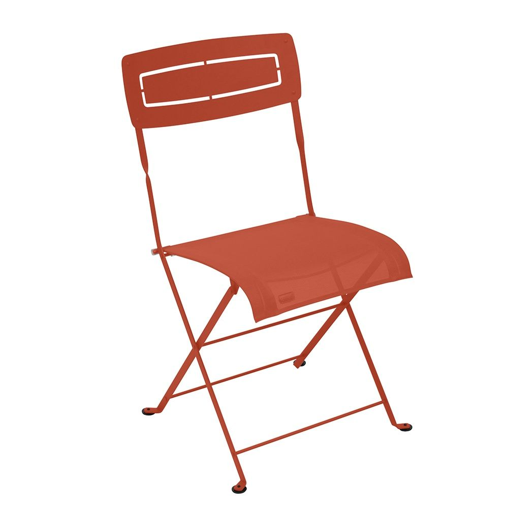 Chaise pliante Fermob Slim acier/textilène paprika 107,5 x