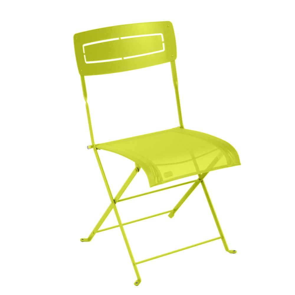 Chaise pliante Fermob Slim acier/textilène verveine