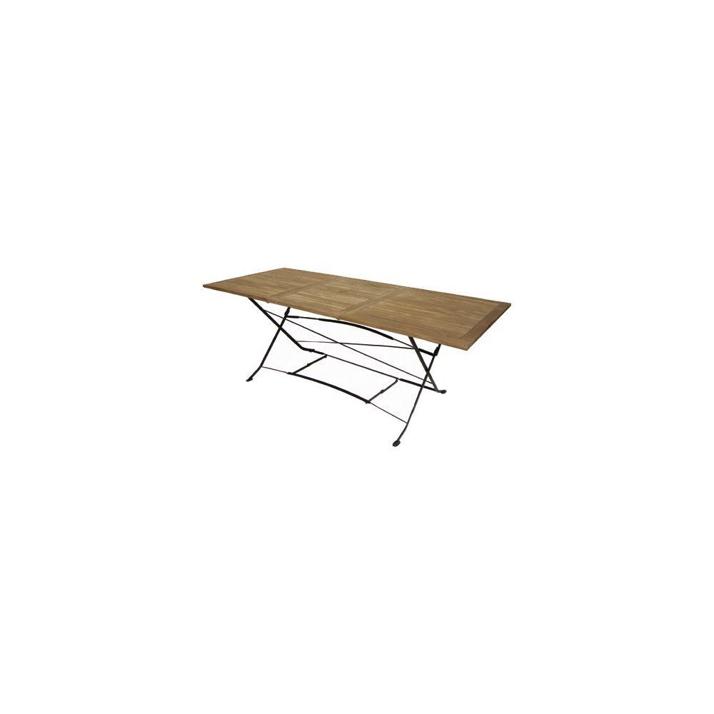 Table pliante rallonge en fer forg et teck fsc 150 210 x 90 cm carton gamm vert - Table de jardin en teck et fer forge ...