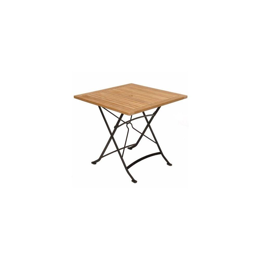 Table pliante carrée en fer forgé et teck FSC - 80 x 80 cm Carton ...