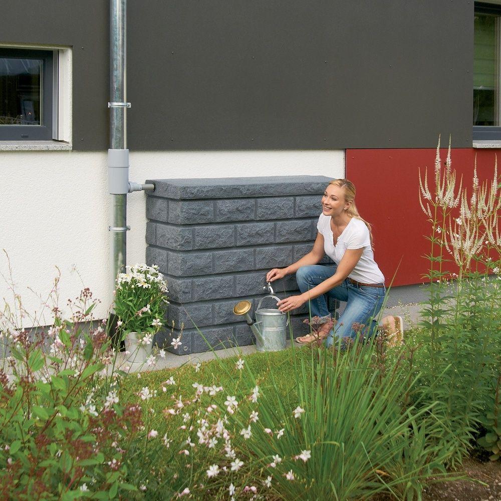 Récupérateur d'eau mural GARANTIA Rocky Gris Granite 400L