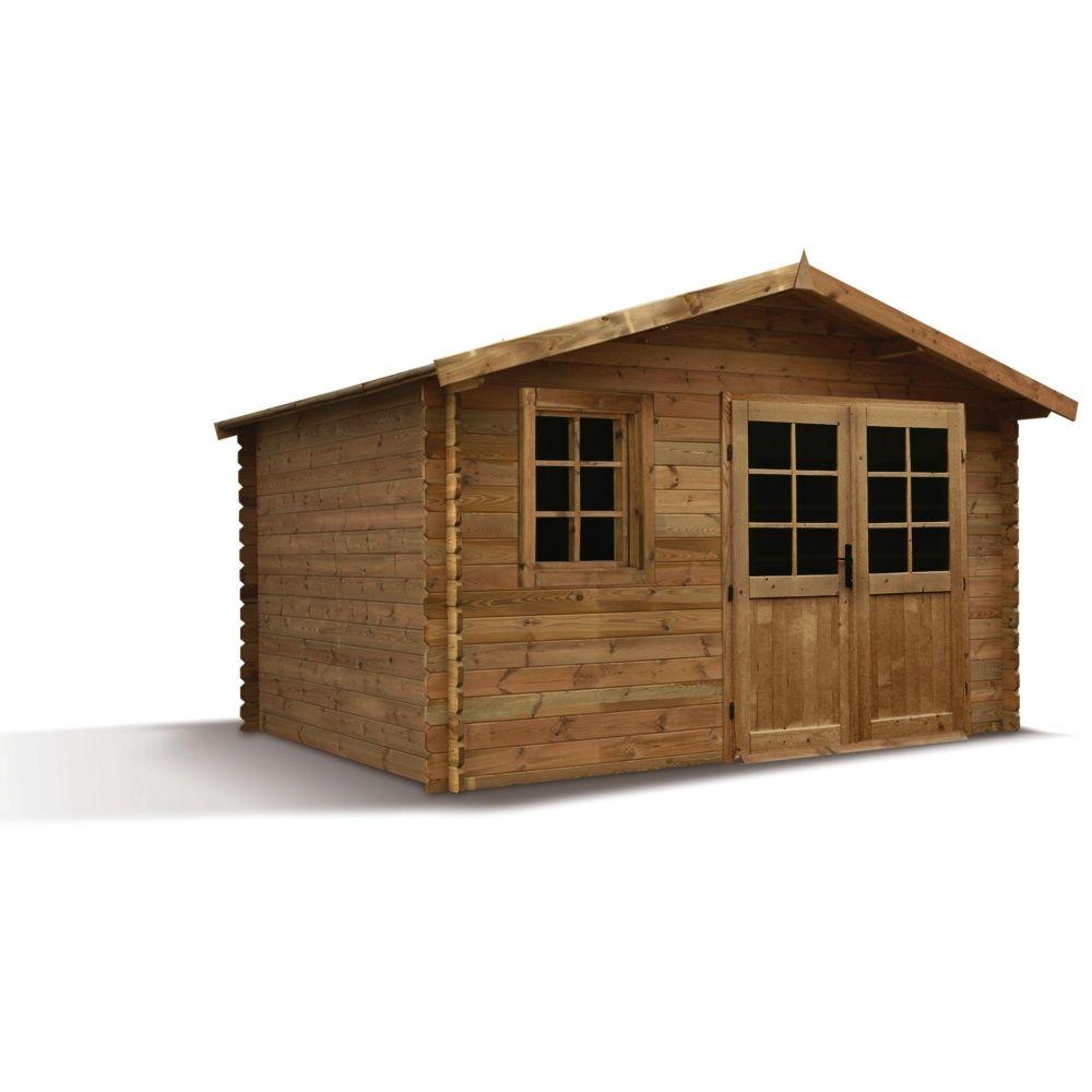 abri de jardin bois trait autoclave 12 60 m ep 28 mm