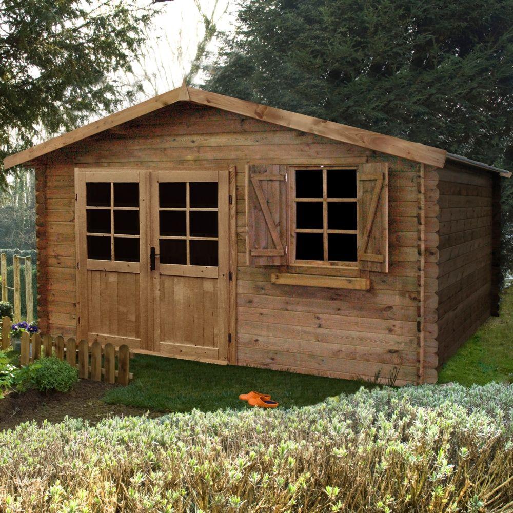 Abri de jardin bois traité autoclave 17,39 m² Ep. 28 mm Zahora ...