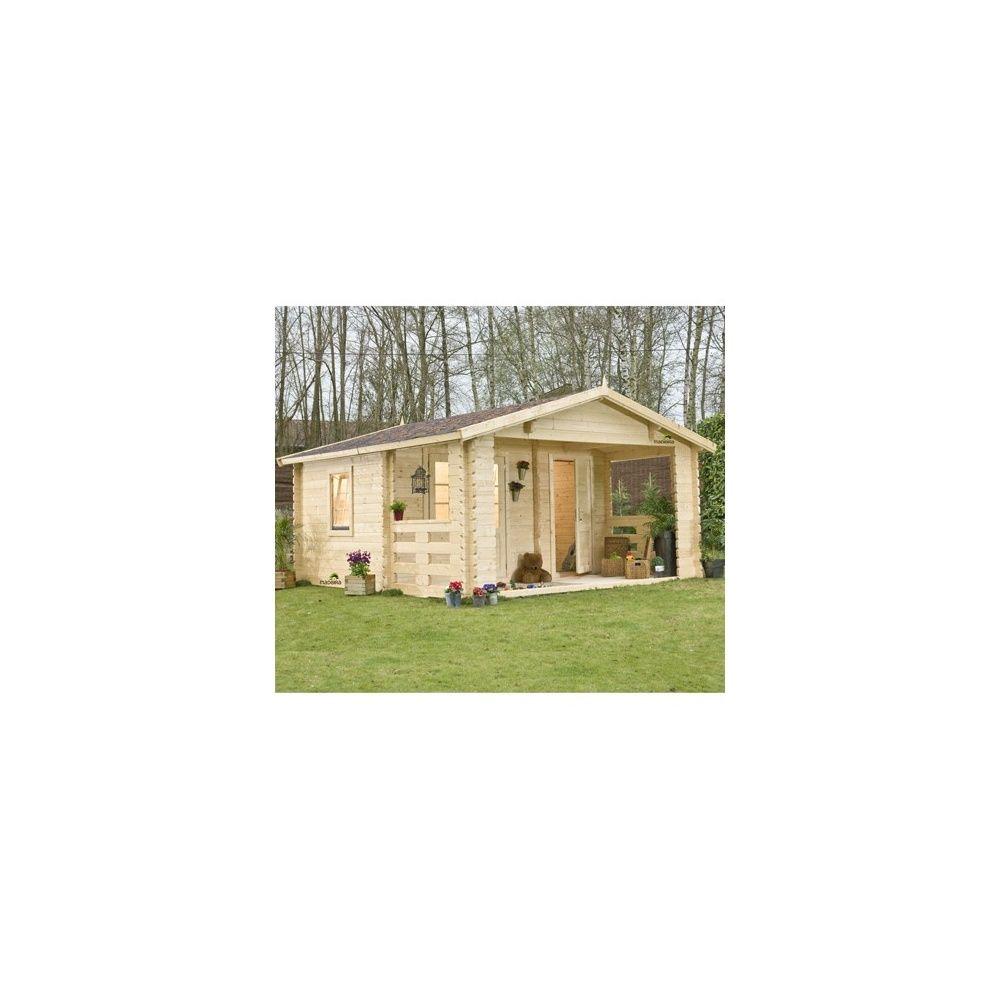 abri de jardin semi habitable mala a 21 50m2 en bois naturel 43mm palette x x. Black Bedroom Furniture Sets. Home Design Ideas